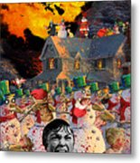 Zombie Snowmen Christmas Metal Print by Barry Kite