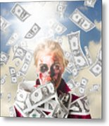 Zombie With Crazy Money. Filthy Rich Millionaire Metal Print