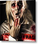 Zombie Woman Expressing Fear And Shock When Waking Metal Print