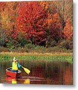 A Person Canoeing In Pennsylvania Metal Print