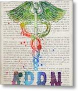 Advanced Practice Registered Nurse Gift Idea With Caduceus Illus Metal Print