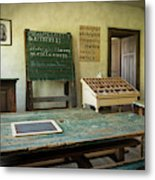 An Old Classroom With Blackboard And Boards With Old Script Metal Print