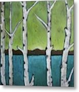 Aspen Trees On The Lake Metal Print
