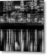 Boston Evening Skyline Of North End And Financial District - Monochrome Metal Print