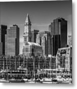Boston Skyline North End And Financial District - Monochrome Metal Print