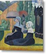 Breton Women With Umbrellas  Metal Print