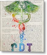 Certified Personal Trainer Gift Idea With Caduceus Illustration  Metal Print