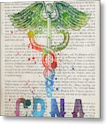 Certified Registered Nurse Anesthetist Gift Idea With Caduceus I Metal Print