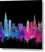 Chicago Skyline Watercolor 3 Metal Print