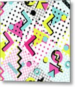 Colorful Abstract 80s Style Seamless Metal Print
