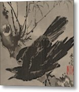 Crow On A Branch Metal Print