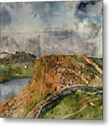 Digital Watercolor Painting Of Beautiful Landscape Image Of Hadr Metal Print
