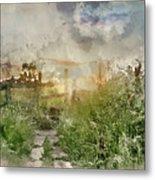 Digital Watercolor Painting Of Beautiful Vibrant Summer Sunrise  Metal Print