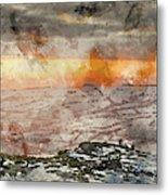 Digital Watercolor Painting Of Stunning Winter Panoramic Landsca Metal Print