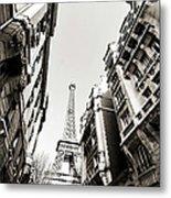 Eiffel Tower  Between Buildings In Metal Print