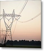 Electrical Power Lines Against The Metal Print