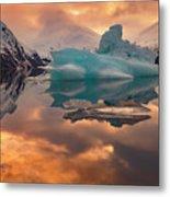 Sunset On Iceberg Metal Print