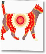 Fire Flower Cats Metal Print