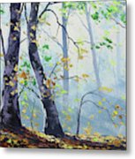 Forest Sunrays Metal Print