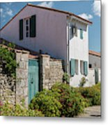 french houses in the streets of Saint Martin de re Metal Print