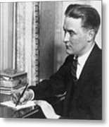 F.scott Fitzgerald Writing At Desk Metal Print