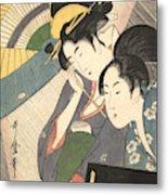 Geisha And Attendant On A Rainy Night Metal Print