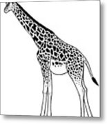 Giraffe - Ink Illustration Metal Print