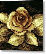 Antique Gold Rose Metal Print