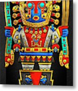 Incan Gods - The Great Creator Viracocha On Black Canvas Metal Print