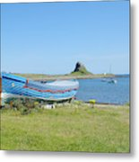 Lindisfarne Castle, Bay And Boat Metal Print