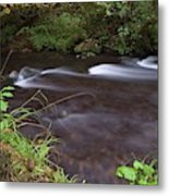 Long Exposure Photographs Of Rolling River With Fall Foliage Metal Print