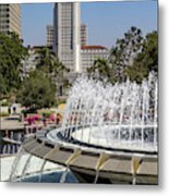 Los Angeles City Hall And Arthur J. Will Memorial Fountain Metal Print