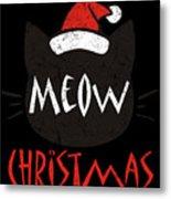 Meow Christmas Distressed Metal Print