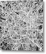 Milan Italy City Map Metal Print