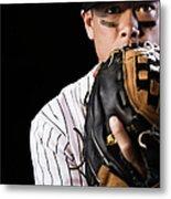 Mixed Race Baseball Player Pitching Metal Print