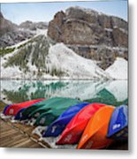 Moraine Lake Canoes Metal Print