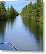 Narrow Cut On The Trent Severn Waterway Metal Print