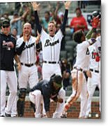 New York Mets V Atlanta Braves - Game Metal Print