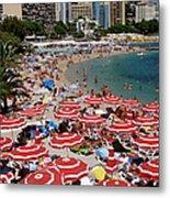 Overhead Of Red Sun Umbrellas At Metal Print