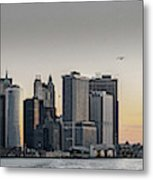 Panoramic View Of Manhattan Island And The Brooklyn Bridge At Su Metal Print