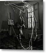 Picasso Drawing With Light Metal Print