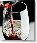 Red Wine Being Poured In A Glass Metal Print
