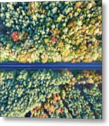 Road Through Colorful Autumn Forest Metal Print