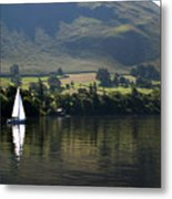 Sailboat On Ullswater In The Lake Metal Print