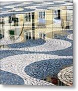 Sidewalk In Lisbon, Portugal Metal Print