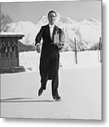 Skating Waiter Metal Print