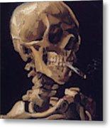 Skull With Cigarette  Metal Print