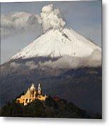 Snowy Volcano And Church Metal Print