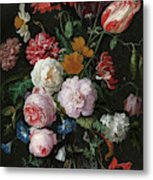Still Life With Flowers In A Glass Vase, 1683 Metal Print