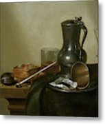 Still Life With Tobacco  Wine And A Pocket Watch  Metal Print